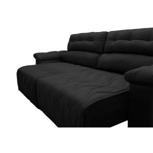 Sofá 2,42m Retrátil e Reclinável com Molas Cama inBox Top Tecido Suede Velusoft Preto