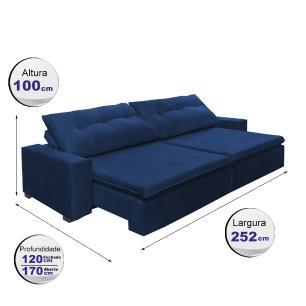 Sofá Retrátil e Reclinavel Oklahoma 2,52m Com Molas e Pillow no Assento Tecido Suede Azul - Cama InBox
