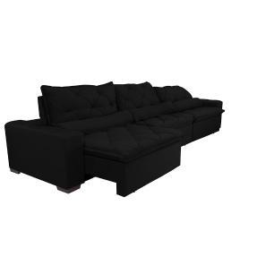 Sofá Lisboa 3,52m Retrátil, Reclinável com Molas no Assento e Almofadas Lombar Tecido Suede Preto