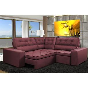 Sofa de Canto Retrátil e Reclinável com Molas Cama inBox Austin 2,70m x 2,70m Suede Velusoft Vinho