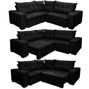 Sofá de Canto Retrátil, Reclinável, Molas Cama inBox Oklahoma 2,50m x 2,50m Suede Velusoft Preto