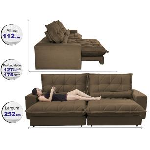 Sofa Retrátil e Reclinável 2,52m com Molas Ensacadas Cama inBox Soft Tecido Suede Café