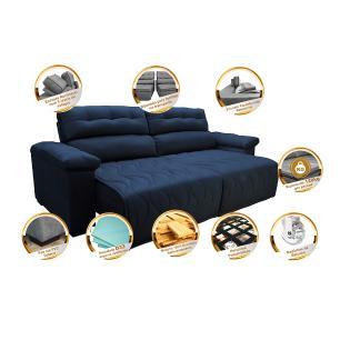 Sofá 2,82m Retrátil e Reclinável com Molas Cama inBox Top Tecido Suede Velusoft Azul