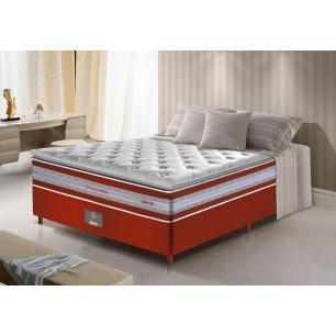 Conjunto Cama Box Casal de Molas Ensacadas D33 com Pillow TOP Cama inBox Select 138x188x71 Vermelho
