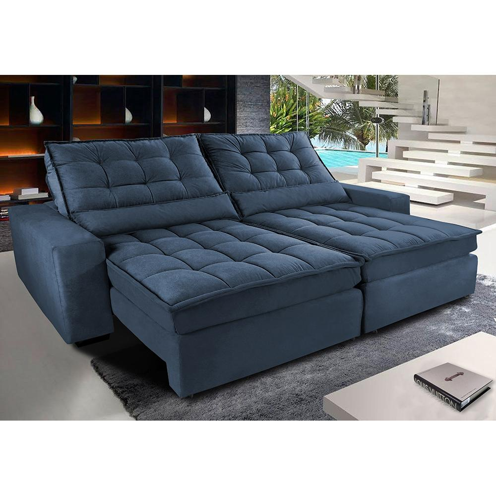 Sofá Retrátil e Reclinável com Molas Ensacadas Cama inBox Gold 2,92m Tecido Suede Velusoft Azul