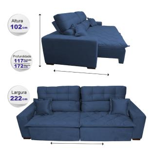 Sofá 2,22m Retrátil e Reclinável com Molas Cama inBox Confort Tecido Suede Velusoft Azul