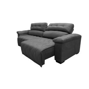 Sofá 2,32m Retrátil e Reclinável com Molas Cama inBox Top Tecido Suede Velusoft Cinza
