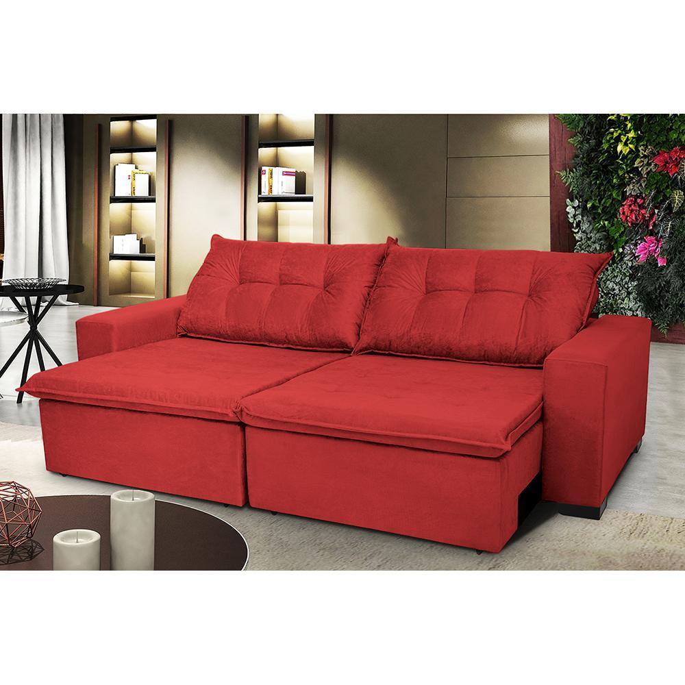 Sofá Austrália 3,12 Mts Retrátil, Reclinável Com Molas e Pillow no Assento Tecido Suede Vermelho- Cama InBox