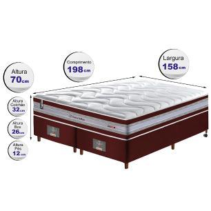Conjunto Cama Box Queen de Molas Ensacadas D33 Cama inBox Select Firme 158x198x71 Vinho