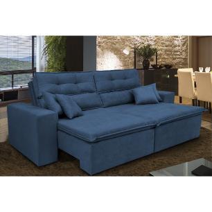 Sofá Cairo 2,72m Retrátil, Reclinável Tecido Suede Azul