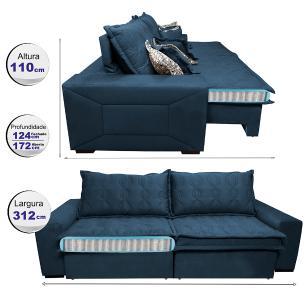 Sofá Retrátil e Reclinável 3,12m com Molas Ensacadas Cama Inbox Supreme Tecido Suede Velusoft Azul