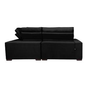 Sofá de Canto Retrátil, Reclinável, Molas Cama inBox Austin 2,30m x 2,30m Suede Velusoft Preto