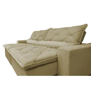 Sofá Magnum 3,02m Retrátil, Reclinável com Molas no Assento e Almofadas Lombar Tecido Suede Velusoft Bege - Cama InBox