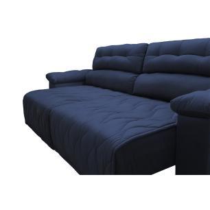 Sofá 2,52m Retrátil e Reclinável com Molas Cama inBox Top Tecido Suede Velusoft Azul