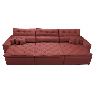 Sofá Retrátil e Reclinável 4,12m Austin com Molas no Assento Tecido Suede Velusoft Vermelho