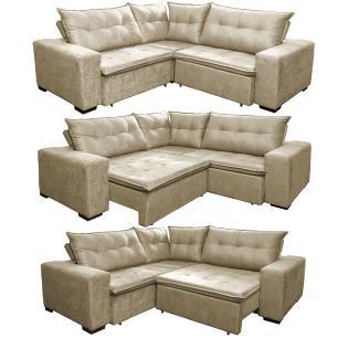 Sofa de Canto Retrátil e Reclinável com Molas Cama inBox Oklahoma 2,50m x 2,50m Suede Velusoft Bege