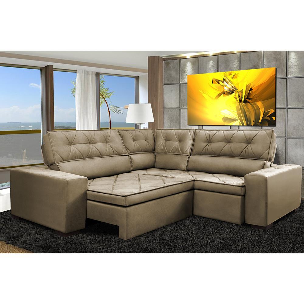 Sofa de Canto Retrátil e Reclinável com Molas Cama inBox Austin 2,50m x 2,50m Suede Velusoft Castor