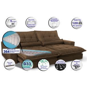 Sofa Retrátil e Reclinável 3,12m com Molas Ensacadas Cama inBox Soft Tecido Suede Café
