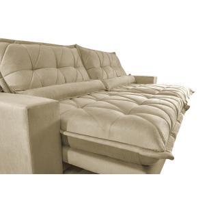 Sofa Retrátil e Reclinável 2,52m com Molas Ensacadas Cama inBox Soft Tecido Suede Bege