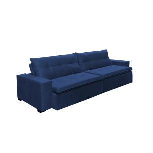 Sofá Retrátil e Reclinavel Oklahoma 2,62m Com Molas e Pillow no Assento Tecido Suede Azul - Cama InBox