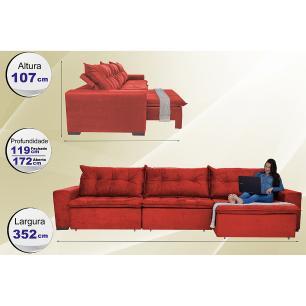 Sofá Austrália 3,52 Mts Retrátil, Reclinável Com Molas e Pillow no Assento Tecido Suede Vermelho- Cama InBox