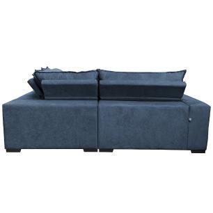 Sofa de Canto Retrátil e Reclinável com Molas Cama inBox Oklahoma 2,50m x 2,50m Suede Velusoft Azul