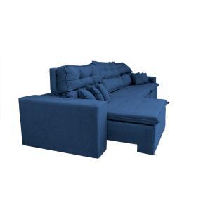 Sofá Cairo 3,82m Retrátil, Reclinável Tecido Suede Azul