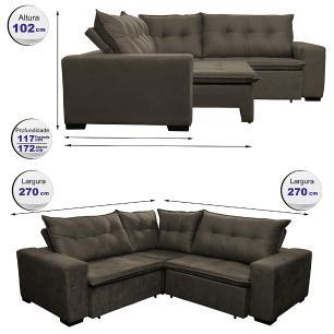 Sofa de Canto Retrátil e Reclinável com Molas Cama inBox Oklahoma 2,70m x 2,70m Suede Velusoft Café