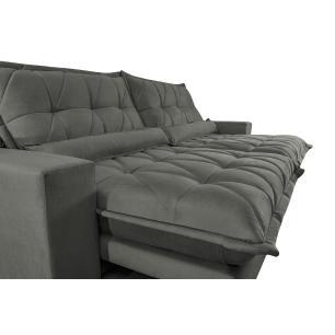 Sofa Retrátil e Reclinável 2,52m com Molas Ensacadas Cama inBox Soft Tecido Suede Cinza