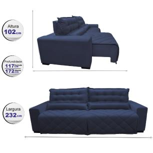 Sofá 2,32m Retrátil e Reclinável com Molas Cama inBox Plus Tecido Suede Velusoft Azul