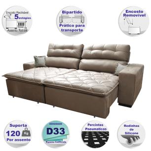 Sofá 2,02m Retrátil e Reclinável com Molas Cama inBox Confort Tecido Suede Velusoft Castor