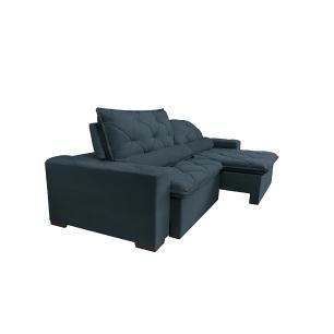 Sofá Lisboa 2,12m Retrátil, Reclinável com Molas no Assento Tecido Suede Velusoft Azul - Cama InBox