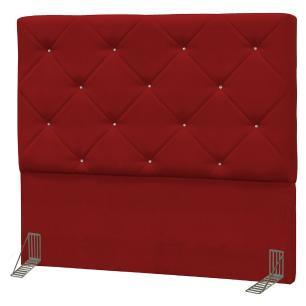 Cabeceira Casal Queen Oásis 160cm Suede Liso Vermelho - D'Monegatto