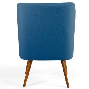 Poltrona Decorativa Sala de Estar Pés Palito Madeira Pérsia B-170 Suede Azul - Domi