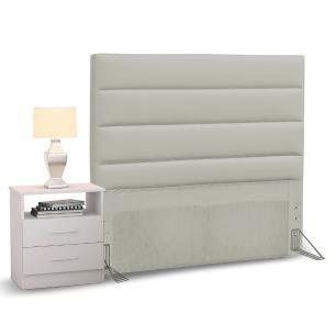 Cabeceira Cama Box Solteiro 90cm Greta Corano Bege e 1 Mesa de Cabeceira Flex DM1 Branco - Mpozenato