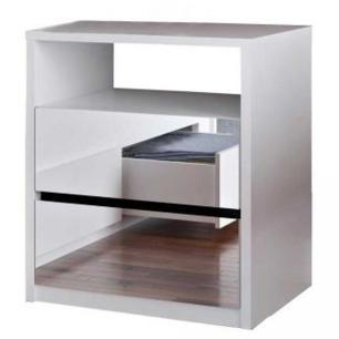 Mesa De Cabeceira Espelhada 2 Gavetas E Nicho Blank F04 Branco - Mpozenato