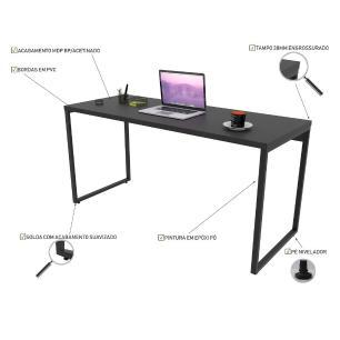 Kit 2 Mesas de Escritório Office 150cm Estilo Industrial Prisma C08 Preto Onix - Mpozenato