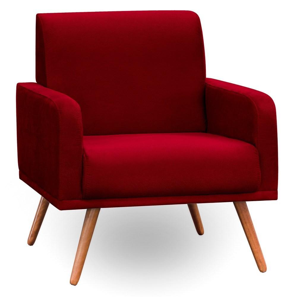Poltrona Decorativa Sala de Estar Pés Palito Carla Suede D05 Vermelho - Mpozenato