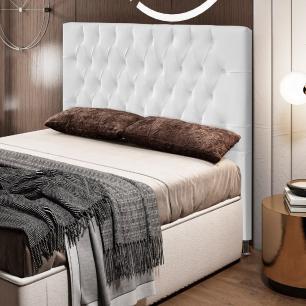 Cabeceira Cama Box Casal 140cm Diamante D10 Corano Branco - Mpozenato