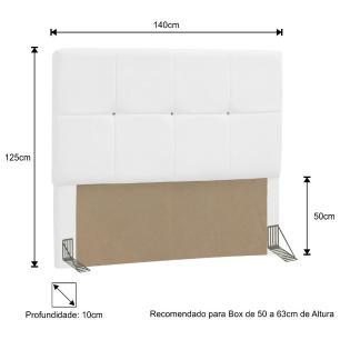 Cabeceira Quarto Casal 145cm Vênus Corano Branco - D'Monegatto