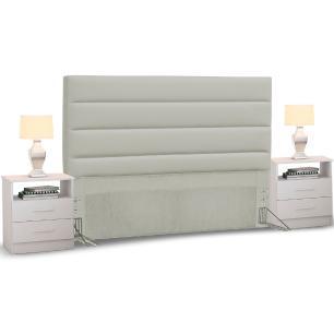 Cabeceira Cama Box Casal Queen 160cm Greta Corano e 2 Criados Mudos Branco - Mpozenato