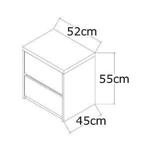 Mesa De Cabeceira 2 Gavetas Blank F04 Branco - Mpozenato