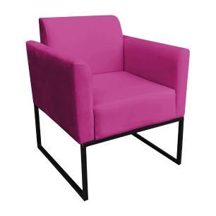 Poltrona Decorativa Base Industrial Preto Maressa S13 Suede Pink - Ibiza