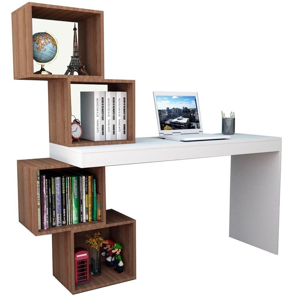 Mesa para Notebook Escrivaninha 4 Nichos ESC 3004 Branco/Castanho - Appunto