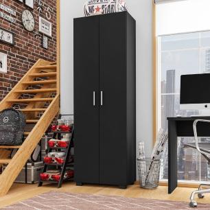 Estante Livreiro Multiuso 2 Portas Office Preto Black - Móveis Leão