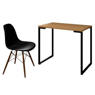 Mesa Escrivaninha Fit Industrial 90cm Natura e Cadeira Charles Design FT1 Preta - Mpozenato