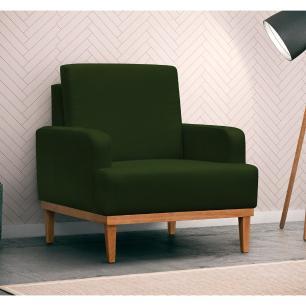 Poltrona Decorativa Sala de Estar Pés Retrô Lady Suede D05 Verde Musgo - Mpozenato