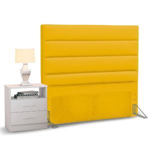 Cabeceira Cama Box Solteiro 90cm Greta Corano Amarelo e 1 Mesa de Cabeceira Flex DM1 Branco - Mpozenato