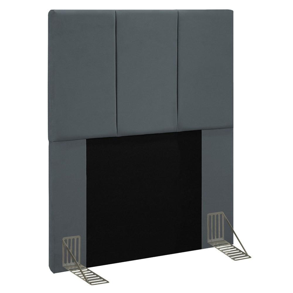 Cabeceira Cama Box Solteiro 90CM Pérola D10 Suede Cinza - Mpozenato