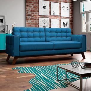 Sofá 300 cm 4 Lugares Sandero B-170 Veludo Azul - Domi